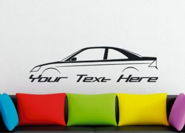 Large Custom car silhouette wall sticker - for Honda Civic EM coupe | 7th gen  vtec